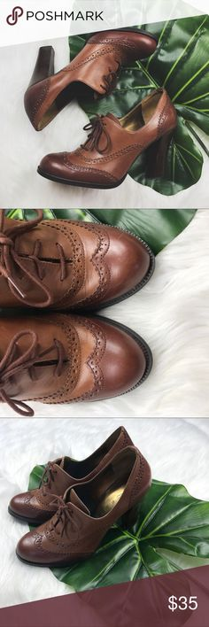 Brown Wingtip Oxford Heels by Marc Fisher In excellent used condition (barely worn) Marc Fisher Shoes Ankle Boots & Booties