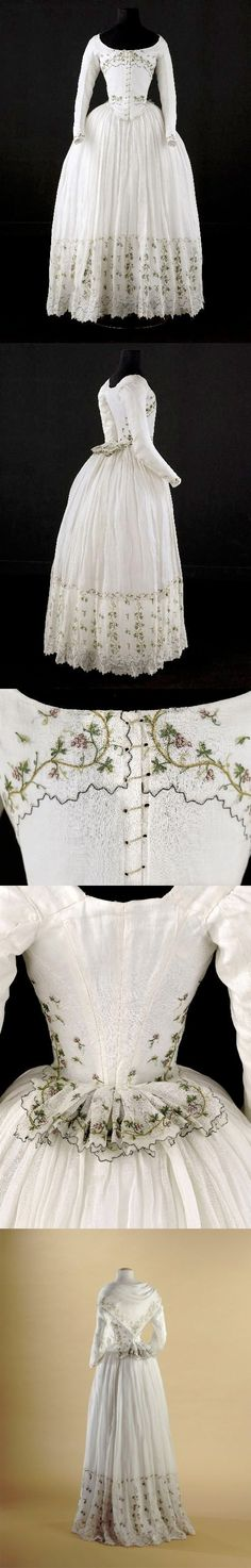 Caraco and petticoat, said to have been worn by Madame Élisabeth (1764-1794), ca. 1789, Cotton, embroidered with grape vines, Palais Galliera, Musée de la Mode de la Ville de Paris | via The Dreamstress blog