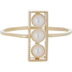 Grace Lee Pearl & Gold Rectangular Ring