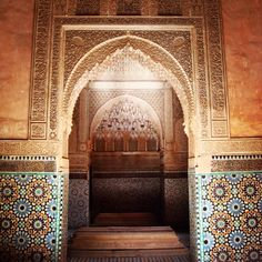 Intricate mosaic walls - Marrakech, Morocco
