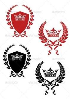Retro laurel wreathes with ribbons and crowns for heraldry design. Editable EPS8 (you can use any of your vector program) and JPEG