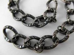 Antique Victorian Edwardian Embossed Curb Link Sterling Silver Charm Bracelet | eBay