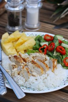 Super easy chicken and rice with a coconut, jalapeño, lime sauce @amymessr