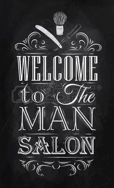 Poster Barbershop welcome to the man salon in a retro style and stylized for the drawing with chalk on the blackboard   photo