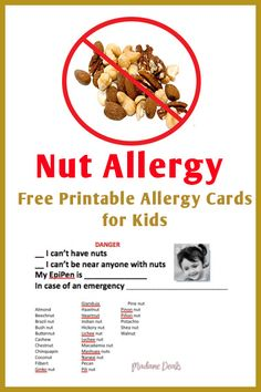 Nut Allergies can be deadly it is important to be able to identify and easily share what is classified as a nut. These cards will enable you to do just that Signs Of Food Allergies, Common Food Allergies, Kids Allergies, Tree Nut Allergy, Peanut Allergy, School Health, Allergy Free, Healthy Living Tips, Nut Free