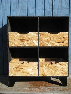 modular osb clear stain cubby organizer drawers. $15.00, via Etsy.