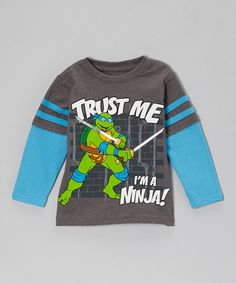 Take a look at the Blue TMNT 'Trust Me' Layered Tee - Toddler on #zulily today!
