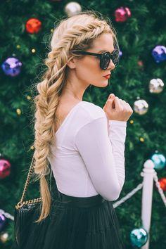 Dutch Fishtail Braid with Straight Long Hair