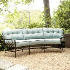 """Corsica Crescent Sofa with Cording SO485 $1,899.00>>>Dimensions:  Overall: 36""""H X 102""""W X 45""""D  Seat: 18 1/2""""H  Construction: Frame is made of wrought iron and cushions are covered in canvas.  Country of Origin: USA  Additional Information: To clean, wash occasionally with auto wash/wax combination. Touch up where, needed. Clean cushions with soap and water. COLOR:TAUPE/BLACK TRIM"""