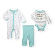 Comfort your baby in snuggly softness in this Koala Baby Boys 3 Piece Pastel/White Layette Set with Footie, Long Sleeve Bodysuit and Footed Pants, a Babies'R'Us exclusive! Comfy cotton and easy access styling make this set a wardrobe essential. <br><br>Koala Baby Boys 3 Piece Pastel/White Layette Set with Footie, Long Sleeve Bodysuit and Footed Pants features:<br><ul><li>Set includes footie, long sleeve bodysuit and footed pants</li><br><li>Made of 100% cotton</li><br><li>Machine wash cold…