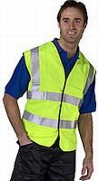 Hi-Visibilty waistcoat with velcro fastenings in saturn yellow.