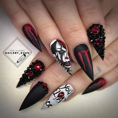 The best Halloween nail designs in 2018 - beautiful nails - . - The best Halloween nail designs in 2018 – beautiful nails – - Nail Art Cute, Cute Acrylic Nails, Halloween Nail Designs, Halloween Nail Art, Scary Halloween, Creepy Clown, Halloween 2019, Gorgeous Nails, Pretty Nails