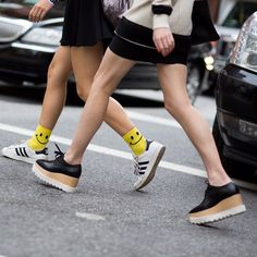 83c1f8dfa8c4 Stella McCartney black Elyse lace up wedge shoes seen on the street in New  York City