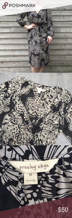 Presley Skye silk dress Presley Skye 100% silk butterfly dress. Size medium. Snap closure in the front to keep the neckline closed. Bishop sleeve. Below the knee length. Has pockets! Quite chic. Presley Skye Dresses Long Sleeve