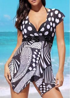 Black Drawstring Side Chevron Print Tankini on sale only US$27.23 now, buy cheap Black Drawstring Side Chevron Print Tankini at liligal.com