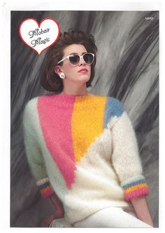 80's hair , shades, earrings , sweater and pants