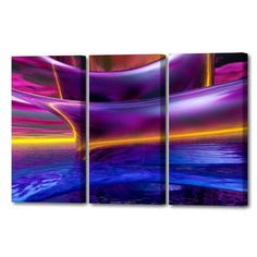 Menaul Fine Art 'Waves Triptych' by Scott J. Menaul 3 Piece Graphic Art on Wrapped Canvas Set Size: