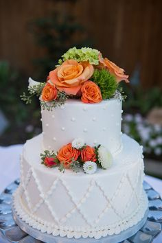 simple cake with pretty flowers; lds wedding blog