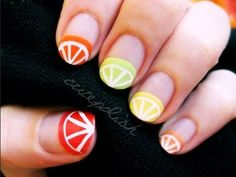 Citrus Nail Art -- Cutepolish's easy design -- I may flip the fruits and use this for a half-moon design.