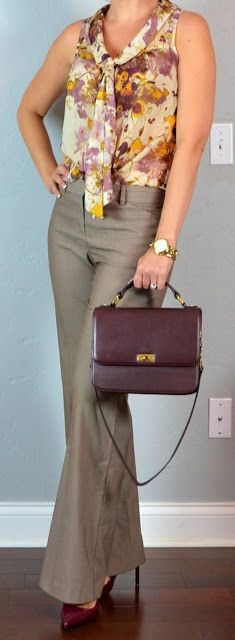 Outfit Posts: outfit post: cream & burgundy floral tie-neck blouse, tan work pants, burgundy heels & bag