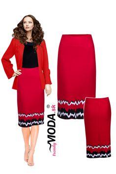 Elegantná červená puzdrová úpletová sukňa s atraktívnym vzorom Waist Skirt, High Waisted Skirt, Skirts, Fashion, Moda, High Waist Skirt, Fashion Styles, Skirt