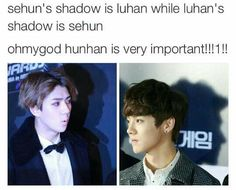 EXO/ i dunno maybe photoshopped the shadow more so it'll look angular but meh i don't wanna ruin the moment for y'all. Anyways Hunhan look alike at certain angles so Baekyeol, Chanbaek, Exo Ot12, Chanyeol, Kpop Memes, Blackpink Memes, Exo Facts, Exo Couple, Kpop Exo