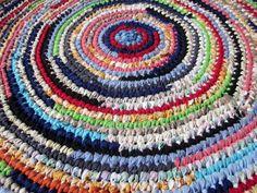 Bright Bold Handmade Crochet Rag Rug Cottage Chic by RaggedRevival, $80.00