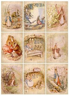 """""""Once upon a time there were four little Rabbits, and their names were–Flopsy, Mopsy, Cottontail, and Peter. """" ~The Tale of Peter Rabbit written and illustrated by Beatrix Potter. Lapin Art, Beatrix Potter Illustrations, Alfabeto Animal, Beatrice Potter, Peter Rabbit And Friends, Dibujos Cute, Bunny Art, Hang Tags, Book Illustration"""