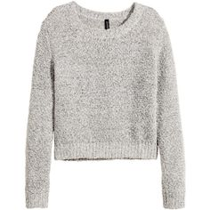 H&M Jumper (22 BRL) ❤ liked on Polyvore featuring tops, sweaters, shirts, jumpers, grey marl, gray sweater, long sleeve sweater, long sleeve jumper, loose shirts and grey shirt