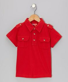 Take a look at this Red Epaulette Polo - Infant, Toddler & Boys by CRugged on #zulily today!