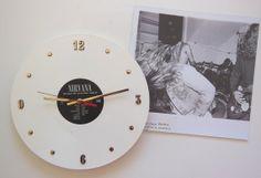 NIRVANA WHITE VINYL Record Wall Clock 1990 Live by RecordsAndStuff, $38.00
