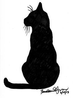 marker sketch of black cat
