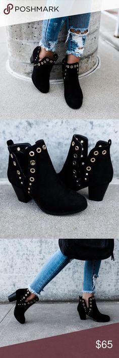 """Black Grommet Booties Black Vegan Suede Grommet Bootie. Approx 2.5"""" heel. True to Size. Price is Firm No Trades Glamvault Shoes Ankle Boots & Booties"""