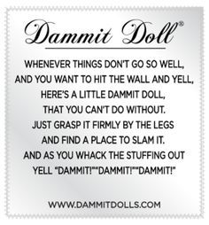 Stressed out? Whack a Dammit Doll, feel better! Dammit Dolls are great gag gifts for coworkers and friends. Stress relief can be fun! Damnit Doll, Doll Patterns Free, Voodoo Dolls, Gifts For Coworkers, Fabric Dolls, Rag Dolls, Gag Gifts, Diy Doll, Sewing Projects