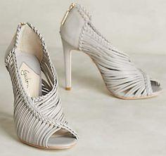 Stylish light grey strap heels