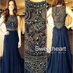 Dark Blue Chiffon A-line Beaded Long Prom Dresses, Evening Dresses, Formal Dresses
