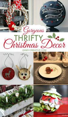 Great handmade Gorgeous Thrifty Christmas Decor to make for the home or to give as gifts! Handmade can also be money saving when it comes to holiday decor!