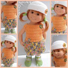 Fiche  crochet pour poupées Wichtel (32cm)  ou tout autres poupées de même gabarit La fiche Mia comprend : une robe, un bob (ou béret de matelot). crochet 2 1/2 La robe se c - 18973250