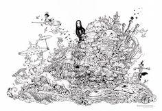Hayao Miyazaki Doodle Tribute by Kerby Rosanes