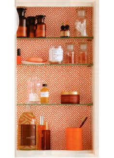 wallpapered medicine cabinet