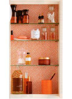 wallpaper in bathroom cabinet