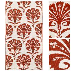 """Palmette Red"" silk Ottoman embroidery on cotton / Robert Kime"