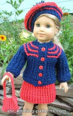 American Girl Doll Vintage Outfit (Knit Cardigan and Skirt); free pattern