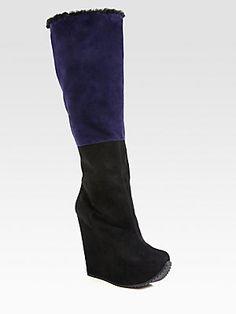 Yves Saint Laurent Colorblock Suede Knee-High Wedge Boots