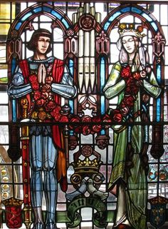 The #wedding of Henry V and Catherine of Valois, English royalty in stained glass by German-American artist, Karl J. Mueller. http://materialsunlimitedblog.blogspot.com/2014/02/a-true-love-story-captured-in-stained.html