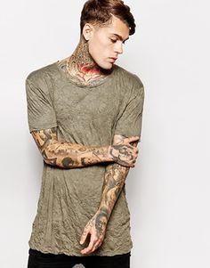 ASOS Longline T-Shirt In Crinkle Jersey Skater Fit