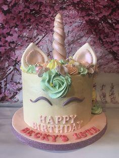 Unicorn cake Violet lustre, White choc covered cake  Birthday cake