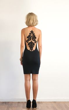 Lace Embellished Stretch Jersey Dress by LanaStepulApparel on Etsy, $155.00