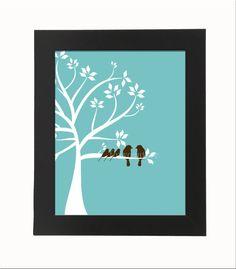 Family Tree with Bird Family 8x10 Digital, Printable Fine Art Print, Wall Decor. $5.00, via Etsy.