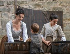 Claire Fraser (Caitriona Balfe) and Jenny (Laura Donnelly) Outlander on Starz from Outlander TV News